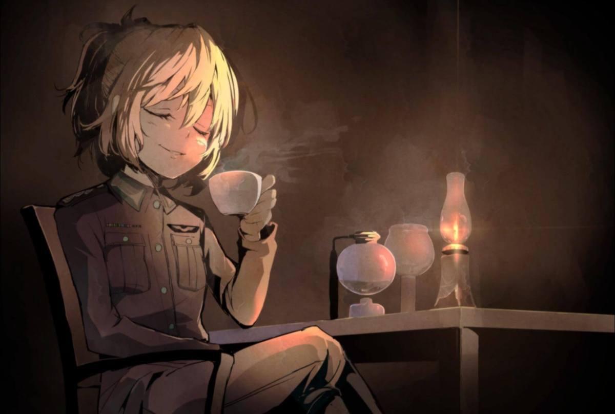 youjo senki tanya degurechaff drinking coffee